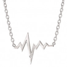 Ostbye Sterling Silver Diva Diamonds Heartbeat Necklace