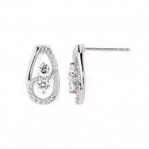 Ostbye 14k White Gold 2 Stone Diamond Earrings