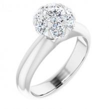 14K White 1/2 CTW Diamond Cluster Engagement Ring. Size 7