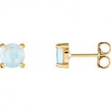 14K Yellow Opal Cabochon Earrings
