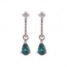 Val Casting 14k White Gold Ladies Pear Alexandrite Earrings