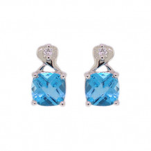 Val Casting 14k White Gold Ladies Cushion Blue Topaz Earrings