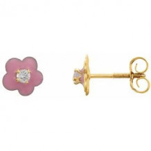 14K Yellow 2 mm Round Cubic Zirconia Youth Pink Enamel Flower Earrings