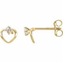 14K Yellow 2 mm Round Cubic Zirconia Youth Heart Earrings