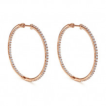 14k Rose Gold Gabriel & Co. Diamond Hoop Earrings