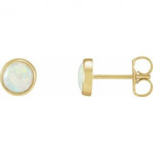 14K Yellow Bezel-Set Opal Earrings