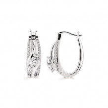 Ostbye 14k White Gold Two Stone Diamond Bypass Earrings