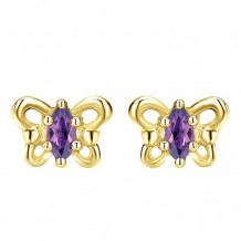 14k Yellow Gold Gabriel & Co. Amethyst Stud Earrings