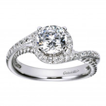 Gabriel & Co 14k White Gold Round Halo Engagement Ring