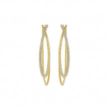 14k Yellow Gold Gabriel & Co. Classic Diamond Hoop Earrings