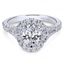 Gabriel & Co. 14k White Gold Oval Halo Engagement Ring