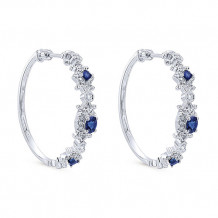 14k White Gold Gabriel & Co. Blue Sapphire Diamond Hoop Earrings