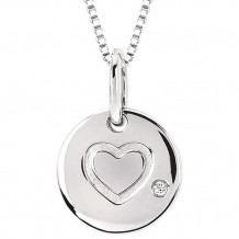 Ostbye Sterling Silver Diva Diamonds Heart Disk Necklace