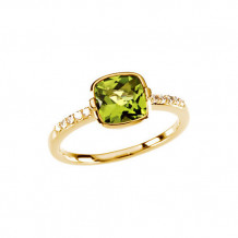 14k Yellow Gold Stuller Diamond and Peridot Stackable Ring