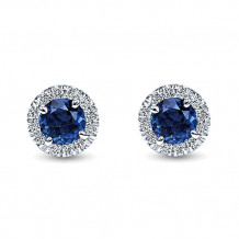 14k White Gold Gabriel & Co. Diamond And Sapphire Stud Earrings