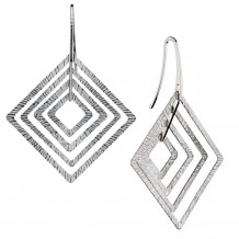 Sterling Silver Square Silhouettes Hanging Earrings