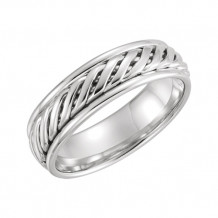 Stuller 14k White Gold Comfort-Fit Duo Grooved Wedding Band