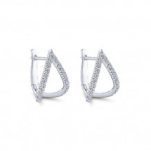 14k White Gold Gabriel & Co. Diamond Huggie Earrings