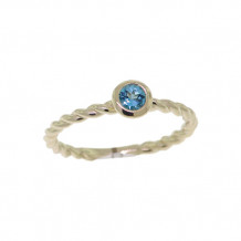 Val Casting 14k Yellow Gold Ladies Round Blue Topaz Ring