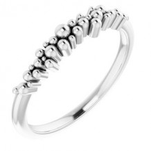 Sterling Silver Stackable Scattered Bead Ring
