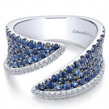 14k White Gold Gabriel & Co. Diamond And Sapphire Wide Band