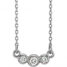 Stuller 14k White Gold Diamond Bezel Set Necklace