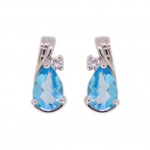 Val Casting 14k White Gold Ladies Pear Blue Topaz Earrings
