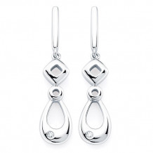 Ostbye Sterling Silver Diva Diamonds Geometric Earrings