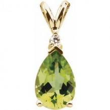 14K Yellow 10x7 mm Pear Peridot & .04 CT Diamond Pendant