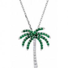 "14K White Tsavorite Garnet & .08 CTW Diamond 16"" Necklace"