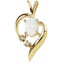 14K Yellow Opal & Diamond Pendant