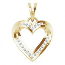 14K Yellow 1/4 CTW Diamond Heart Pendant