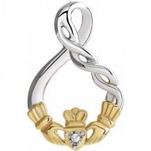 Sterling Silver & 10K Yellow .01 CT Diamond Claddagh Pendant