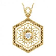 14K Yellow .03 CT Diamond Filigree Pendant