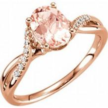 14K Rose Morganite & .06 CTW Diamond Ring Size 7