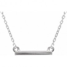 "Sterling Silver 18x1.5 mm Petite Bar 16-18"" Necklace"