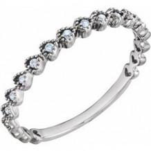 14K White .06 CTW Diamond Stackable Heart Ring