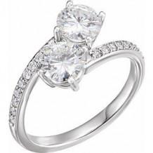 14K White 6 mm Round Forever One Moissanite & 1/5 CTW Diamond Ring. Size 7