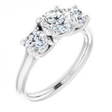 14K White 6 mm Round Forever One Moissanite Engagement Ring. Size 7