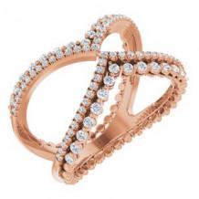 14K Rose 1/2 CTW Diamond Negative Space Ring
