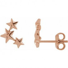 14K Rose 11.4x4.3 mm Star Ear Climbers