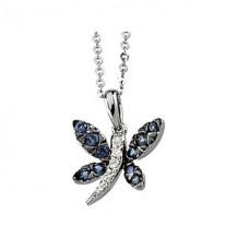 Genuine Blue Sapphire & Diamond Necklace