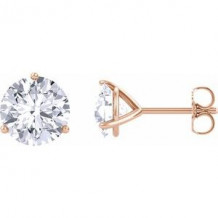 14K Rose 6.5 mm Round Forever One Moissanite Earrings