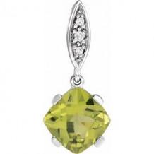 14K White Peridot & .02 CTW Diamond Pendant