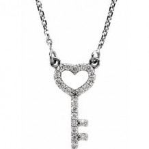"14K White 1/8 CTW Diamond Petite Heart Key 16.5"" Necklace"