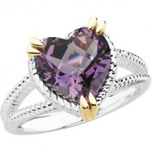 Sterling Silver & 14K Yellow Amethyst Heart Ring