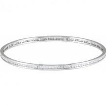 "14K White 1 1/2 CTW Diamond Stackable Bangle 8"" Bracelet"
