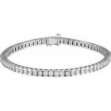 "14K White 4 CTW Diamond Line 7 1/4"" Bracelet"