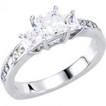 10K White 1 1/2 CTW Diamond Engagement Ring. Size 7