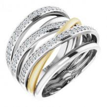 14K White/Yellow 1/2 CTW Diamond Ring Size 7